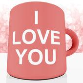 Miluji vás hrnek s pozadím bokeh romantiky a valenti — Stock fotografie