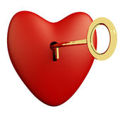 Heart With Key And White Background Showing Love Romance And Val — Stock Photo