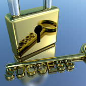 Padlock With Success Key Showing Strategy Planning And Solutions — Stock Photo