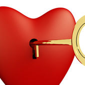Heart With Key Close Up Showing Love Romance And Valentines — Stock Photo