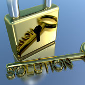 Padlock With Solution Key Showing Strategy Planning And Success — Stock Photo