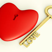 Heart With Key Closeup Showing Love Romance And Valentines — Stock Photo
