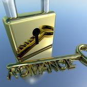 挂锁与浪漫关键显示爱情人节及爱好者 — 图库照片