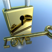 Padlock With Love Key Showing Romance Valentines And Lovers — Stock Photo