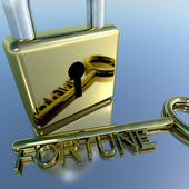 Padlock With Fortune Key Showing Luck Success And Riches — Stock Photo
