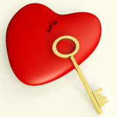 Heart With Key Showing Love Romance And Valentines — Stock Photo
