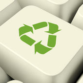 Recycle Icon Computer Key In Green Showing Recycling And Eco Fri — Stock Photo