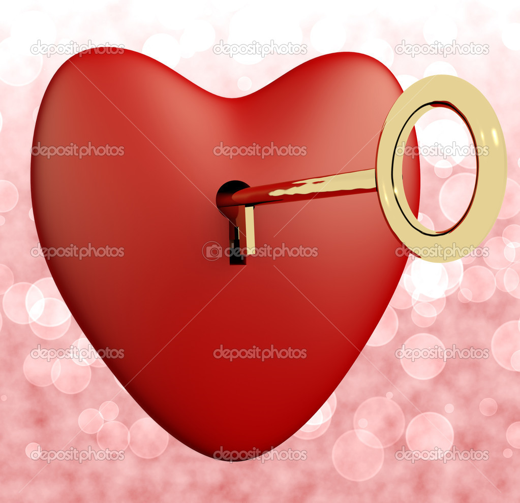 Heart With Key And Pink Bokeh Background Showing Love Romance And Valentine — Stock Photo #8506961