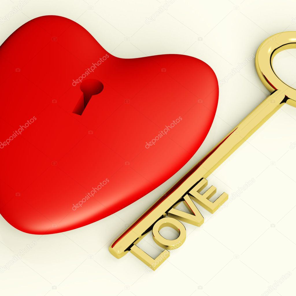Heart With Key Closeup Showing Love Romance And Valentine — Stock Photo #8506965