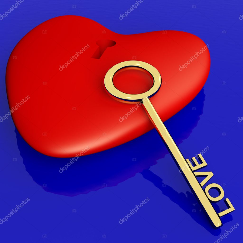 Heart With Key Showing Love Romance And Valentines Day — Stock Photo #8506969