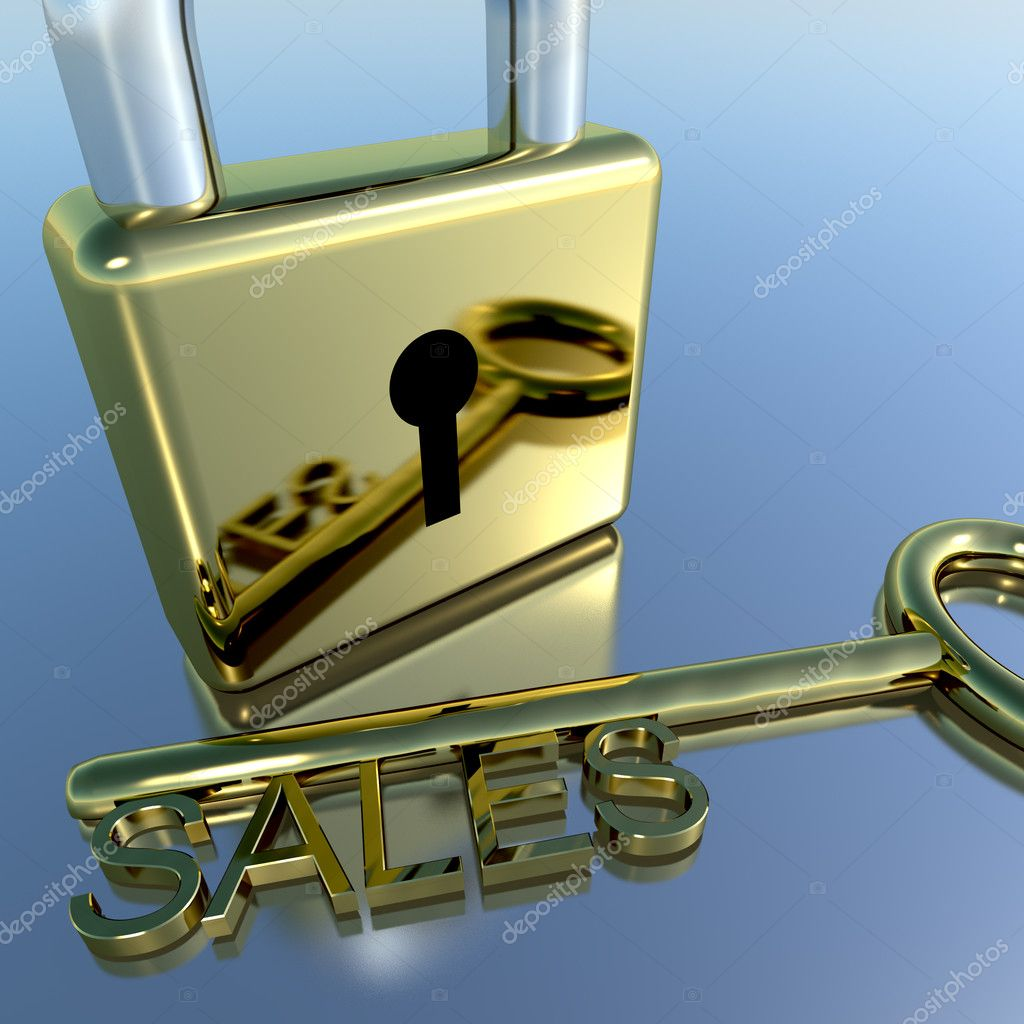 Padlock With Sales Key Showing Selling Marketing Or Commerce — Stock Photo #8506975