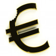 Stock Photo: Euro With Bite Showing Devaluation Economic Crisis And Recession