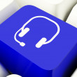 Headset Symbol Computer Key In Blue Showing Communiction And Onl — Stock Photo #8511144