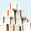 Stack Of Giftboxes With Sky Background As Presents For The Famil — Stock Photo