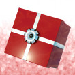 Red Giftbox With Bokeh Background For Girls Birthday — Stock Photo