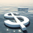 Stock Photo: Dollar Floating And Euro Going Away Showing Money Exchange Or Fo