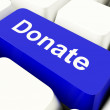Donate Computer Key In Blue Showing Charity And Fundraising — Stock Photo #8511416