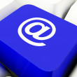 Stock Photo: At Computer Key In Blue For Emailing Or Contacting