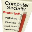 Computer Security Protected Meter Shows Laptop Interet Safety - Stock Photo