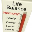 Life Balance Harmony Meter Shows Lifestyle And Job Desires — Foto Stock