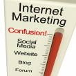 Internet Marketing Confusion Shows Online SEO Strategy And Devel - Foto Stock