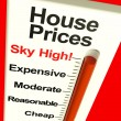 House Prices High Monitor Showing Expensive Mortgage Costs — Stock Photo #8511462
