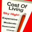 Cost Of Living Expenses Sky High Monitor Showing Increasing Cost — Stock Photo