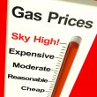 Gas Prices Sky High Monitor Showing Soaring Fuel Expenses — Stock Photo #8511466
