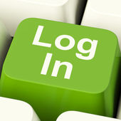 Log In Computer Key Green Showing Access And Entering — Stock Photo