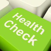 Health Check Computer Key In Green Showing Medical Examination — Stok fotoğraf