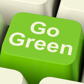 Go Green Computer Key Showing Recycling And Eco Friendly — Stock Photo