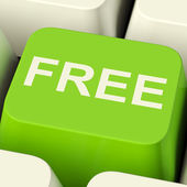 Free Computer Key In Green Showing Freebie and Promo — Stock Photo