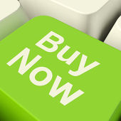 Buy Now Computer Key In Green Showing Purchases And Online Shopp — Stock Photo