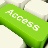 Access Computer Key In Green Showing Permission And Security — Stock Photo