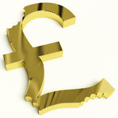 Pound With Bite Showing Devaluation Economic Crisis And Recessio — Stock Photo