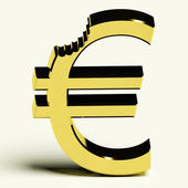 Euro With Bite Showing Devaluation Crisis And Recession — Stock Photo