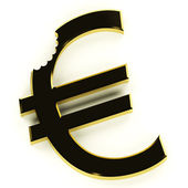 Euro With Bite Showing Devaluation Economic Crisis And Recession — Stock Photo