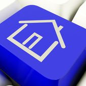 House Symbol Computer Key In Blue Showing Real Estate Or Rentals — Stock Photo