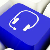 Headset Symbol Computer Key In Blue Showing Communiction And Onl — Stock Photo