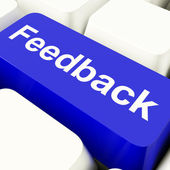 Feedback Computer Key In Blue Showing Opinions And Surveys — Stock Photo
