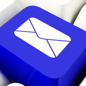 Envelope Computer Key In Blue For Emailing Or Contacting — Stock Photo