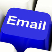 Email Computer Key In Blue For Emailing Or Contacting — Stock Photo