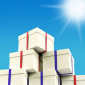 Stack Of Giftboxes With Sun And Sky Background As Presents For T — Foto de Stock
