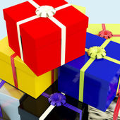 Multicolored Giftboxes As Presents For The Family Or Friends — 图库照片