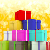 Multicolored Giftboxes With Yellow Bokeh Background As Presents — Stock Photo