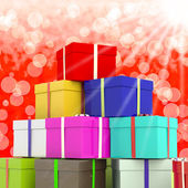 Multicolored Giftboxes With Bokeh Background As Presents For Th — 图库照片