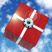 Red Giftbox With Sky Background For Girls Birthday — Photo