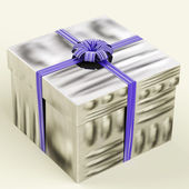 Silver Gift Box With Blue Ribbon As Birthday Present For Man — Stock Photo