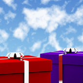 Red And Blue Gift Boxes With Sky Background As Presents For Him — Zdjęcie stockowe