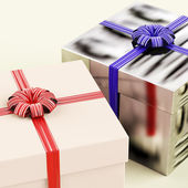 Two Gift Boxes With Blue And Red Ribbons As Presents For Him And — Zdjęcie stockowe